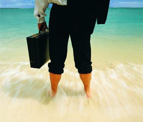 businessman in beach